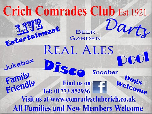 Crich Comrades Club - click to visit website or phone 01773 852936