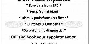 Advert for DM Auto Repairs. Book an appointment 01773 857159