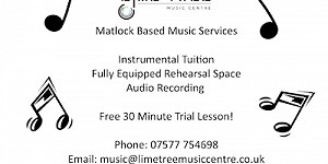 Advert for Lime tree music tuition, rehersal and recording studio
