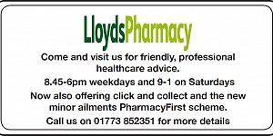 Advert for Lloyds Pharmacy. Call 01773 852351