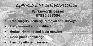 Advert for Neil Thompson Garden Services. Call 07885 637504
