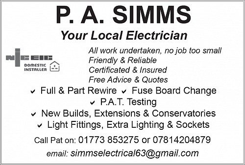 Advert for PA Simms Electrician
