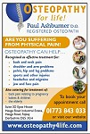 Advert for Osteopathy for Life. Ring 01773 843033