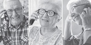 Photos of people talking on the telephone