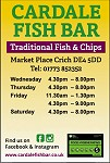 Advert for Cardale Fish Bar. Call 01773 852352