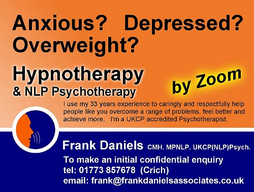 Advert for Frank Daniels Hypnotherapy & Psychotherapy