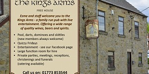 Advert for The Kings Arms. Call 01773 853544
