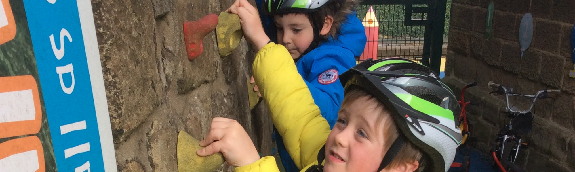 Crich Infants on climbing wall
