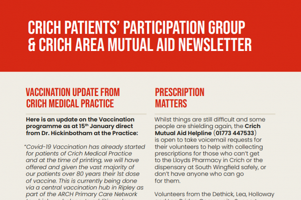 Cover image of the Crich Patients' Participation and Crich Mutual Aid newsletter