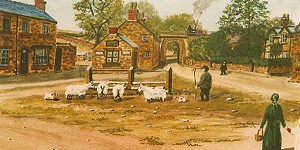 Painting of Crich Market Place by Herbert Keys