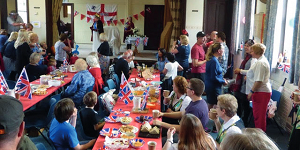 Celebrating in Fritchley village hall