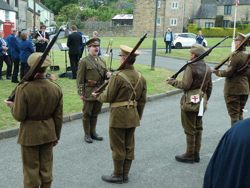 Soldiers in First World War Dress on Fritchley Village Green